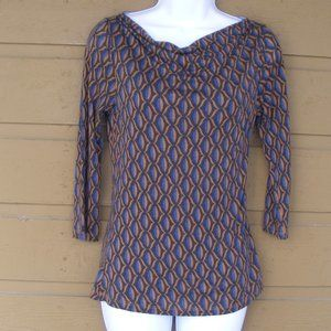 BODEN Top/Tunic, 4 US, Op Art, Brown/Blue/black